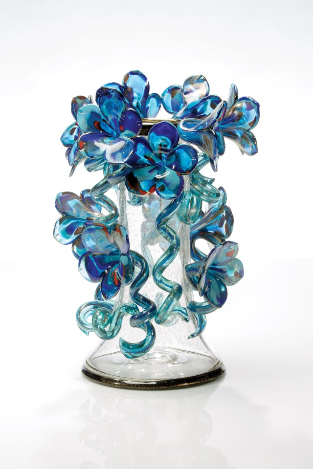 Clear Venetian with Indigo Flowers, 2012, 22 x 14 x 12""